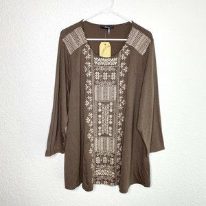 Andree by Unit Tunic Top Embroidered Boho Brown